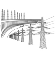 Power Transmission Line Dnieper hydro power plant vector image