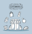 shopping products in the supermarket with variety vector image