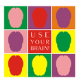 Use your brain colorful icon set vector image