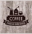 banner with cezve grinder and cup of coffee vector image vector image
