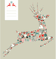 Christmas icons in jumping deer vector image vector image