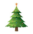 Decorated christmas tree with star color balls vector image