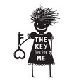 girl with key cartoon vector image vector image
