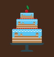 Card with a big chocolate cream layered cake vector image