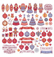 Christmas decorations for invitations and greeting vector image