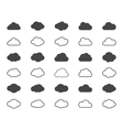 Clouds shapes or black icons set elements vector image