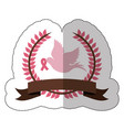 fuchsia symbol dove with breast cancer ribbon vector image