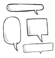 Hand drawn speech bubble skech set on white vector image