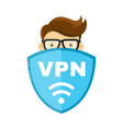vpn protect safety concept man and save vector image