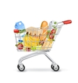 Realistic Supermarket Trolley Full Of Items vector image