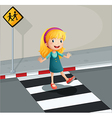 A young lady crossing the pedestrian lane vector image vector image