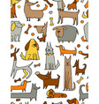 funny dogs collection seamless pattern for your vector image