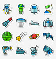 space icons set thin simply stickers with vector image vector image