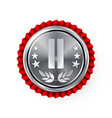 silver 2st place rosette badge medal vector image