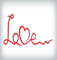 Love and heart from red ribbon vector image