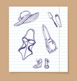 beach look sketch icons vector image