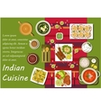 Indian cuisine main dishes and snacks vector image vector image