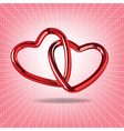 Two red hearts of steel linked together realistic vector image