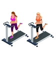 Woman on a running simulator Pretty girl working vector image