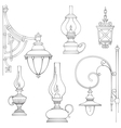 Vintage gas lamps kerosene lamps silhouette vector image vector image