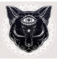 Black cat head portrait with moon and three eyes vector image