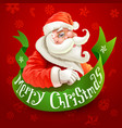 christmas card with santa claus on red background vector image