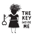 girl with key and quote sign cartoon vector image