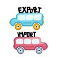 Export Import Bus Icons vector image vector image