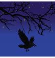 Dark crow bird flying over scary halloween night t vector image vector image