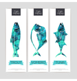 Set of triangle grometric banners with fish vector image vector image