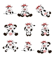 cute christmas cow set vector image vector image