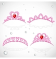 Pink tiaras with diamonds and faceted red stones vector image vector image