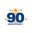90th anniversary colored logo design happy vector image