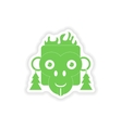 paper sticker on white background monkey Christmas vector image
