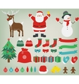 Christmas decoration elements with Santa Claus vector image
