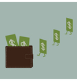 Dollar money and wallet Flat design style vector image