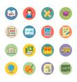 Flat Education Icons Set 1 - Dot Series vector image
