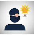 silhouette person piggy money bulb vector image