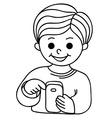 Smiling boy texting with cellular phone vector image