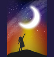 the girl touching the moon on the sky vector image