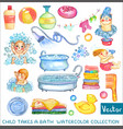 watercolor children and bath time over white vector image