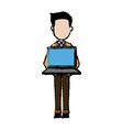 young man character holding laptop work vector image
