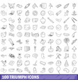 100 triumph icons set outline style vector image