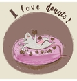 catoon mouse eating donut vector image