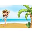 A lady wearing a swimming attire vector image vector image