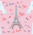 seamless pattern with eiffel tower on pink vector image