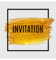 invitation with gold paint glittering textured art vector image