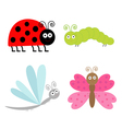 Cute cartoon insect set Ladybug butterfl vector image