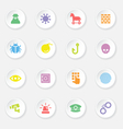 colorful flat icon set 7 on white circle button wi vector image