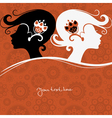 Background with girls silhouette vector image vector image